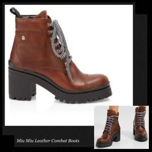 MIU MIU Leather Combat Boots